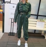 Denim Jumpsuit Women Romper Long Sleeve green Jeans Jumpsuit Female 2019 Workwear Slim Fit Jeans Jumpsuit