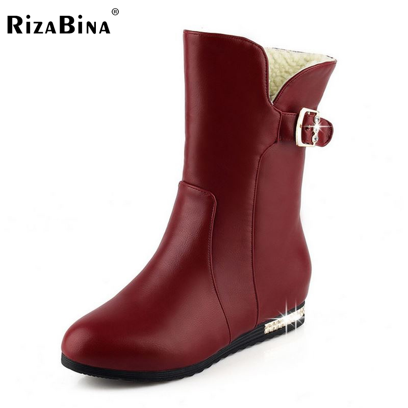 Women Flat Half Short Boots Winter Military Mid Calf Boot Buckle Martin Botas Fashion Quality Footwear Shoes Size 34-42