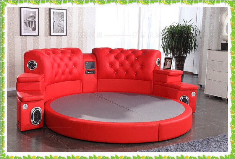 Red Round Bed Genuine Cow Leather Wedding Bed Hot Selling