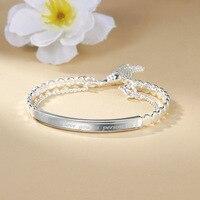 S Silver bracelet female s buckle chain tassel laser bracelet silver bracelet full silver 999 silver ornaments