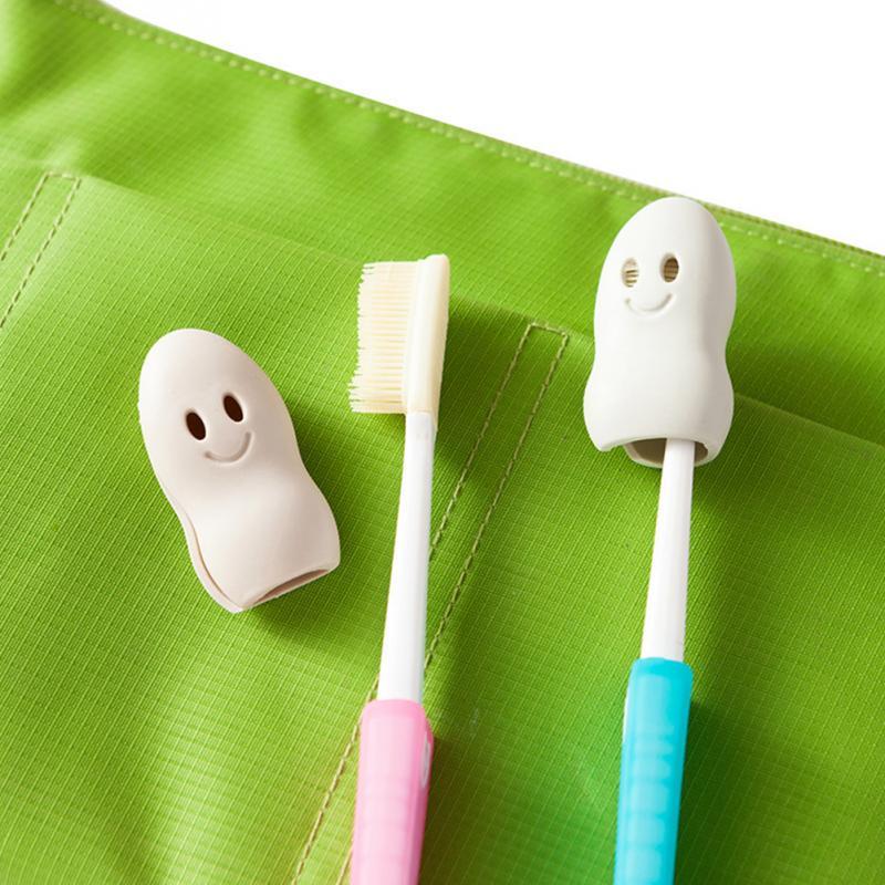2ชิ้นแบบพกพาน่ารักยิ้มใบหน้าหัวหน้าแปรงสีฟันครอบคลุมกรณีแปรงสีฟันหมวกฝุ่น