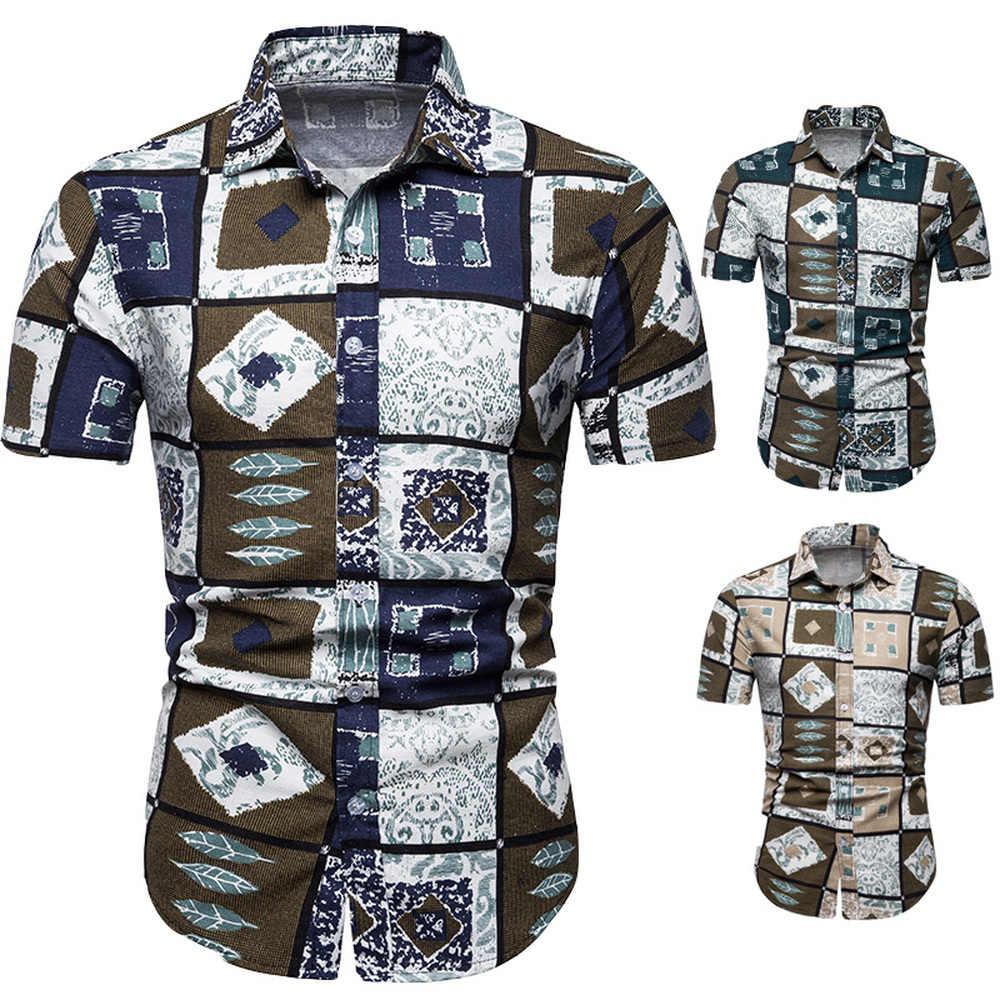 2019 новые летние мужские с коротким рукавом пляжный Гавайские рубашки повседневные Цветочные стандартные для рубашек плюс размер 5XL мужская одежда мода