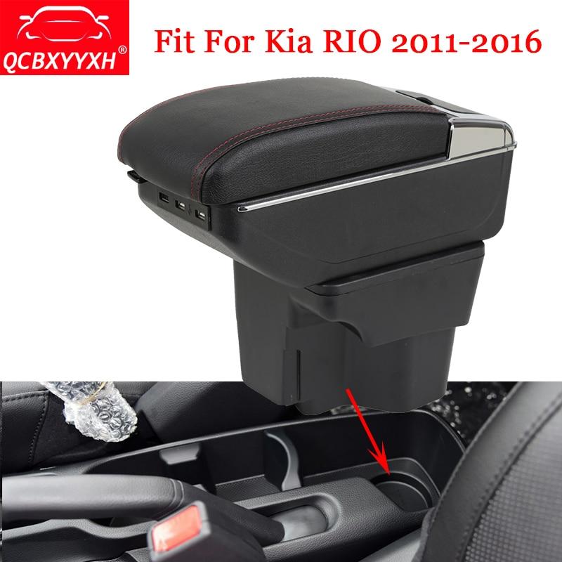 QCBXYYXH Car Styling ABS Car Armrest Box Center Console Storage Box Holder Case For Kia RIO 2011-2016 Car Decoration Accessories 2011 2012 kia rio k2 high quality fiber leather armrest box storage box