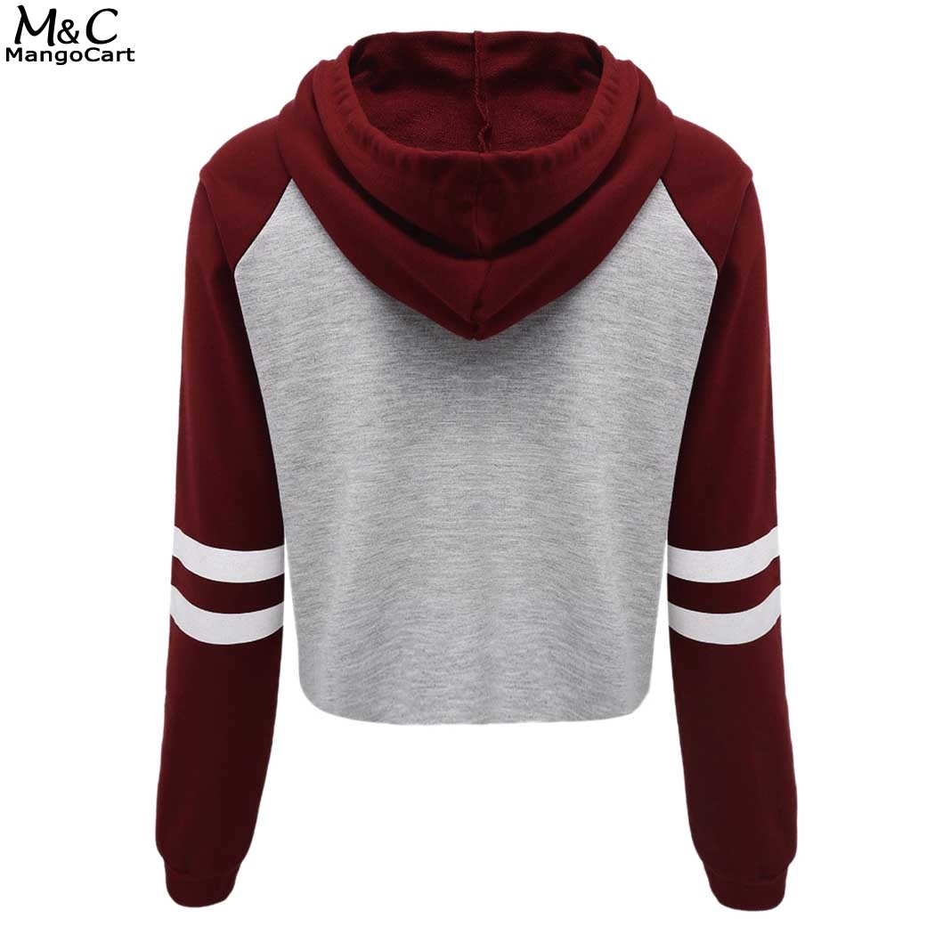 Autumn Winter Sweatshirt Women Hoodies 2017 Casual Hoodies Women Crop Top Pullover Sweatshirts Long Sleeve Letter Print Hoodie
