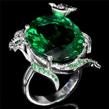 Creative Mosaic Emerald Gemstone Turtle Ring Solid Silver Ring For Women Gift(China)