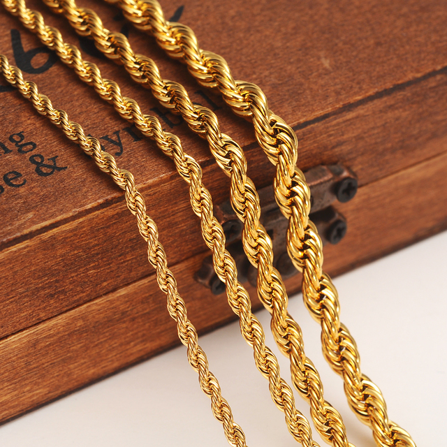 24k Gold Color Filled Necklace Chain For Men And Women Bracelet Rope