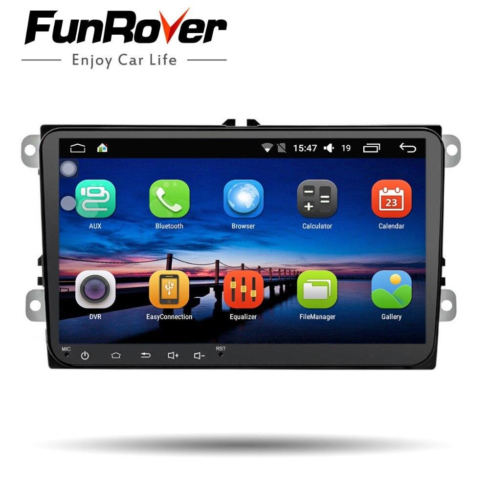 Funrover 9''Android8. 0 2 dinCar DVD radio gps vidéo pour VW Passat CC Polo golf5 6 Touran EOS T5 Sharan Jetta Tiguan WIFI USB BT