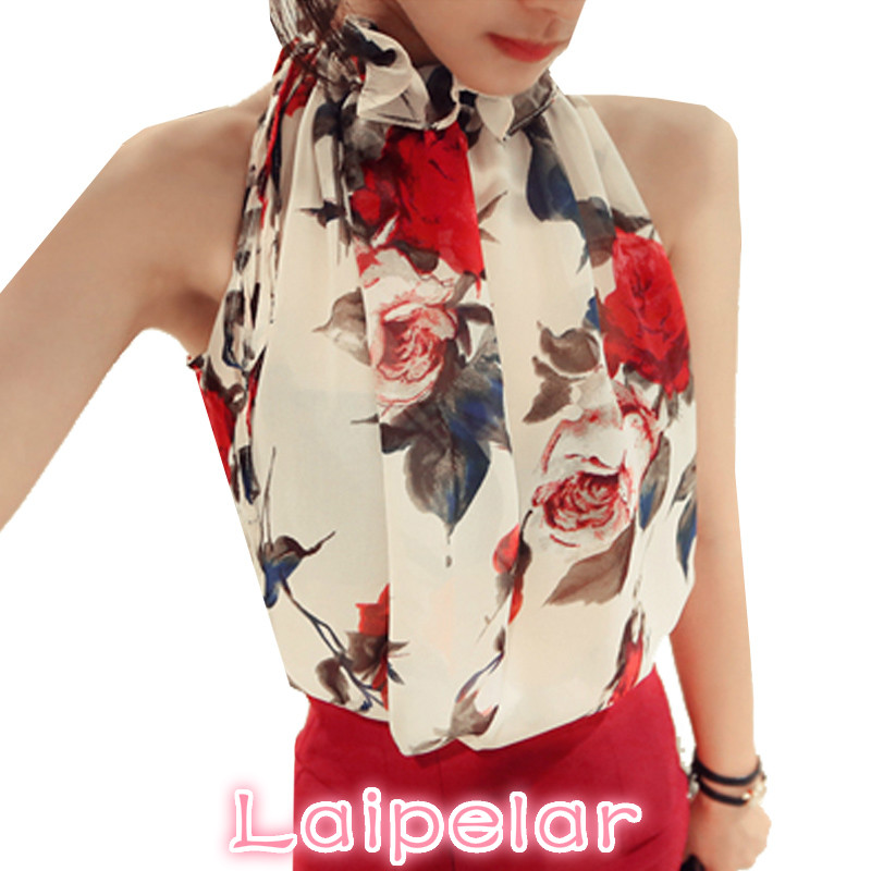 2018 New Fashion Women Tops Chiffon Floral Print Blouses Ruffles Turtleneck Shirt Vest Design Loose Brand women clothing C988 30