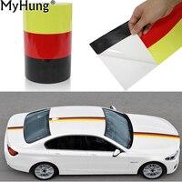 Немецкий флаг автомобиля стикер кузова автомобиля полосатые наклейки самоклеющиеся ПВХ наклейки для BMW BENZ VW mazda Ford Audi автомобильный Стайлин...