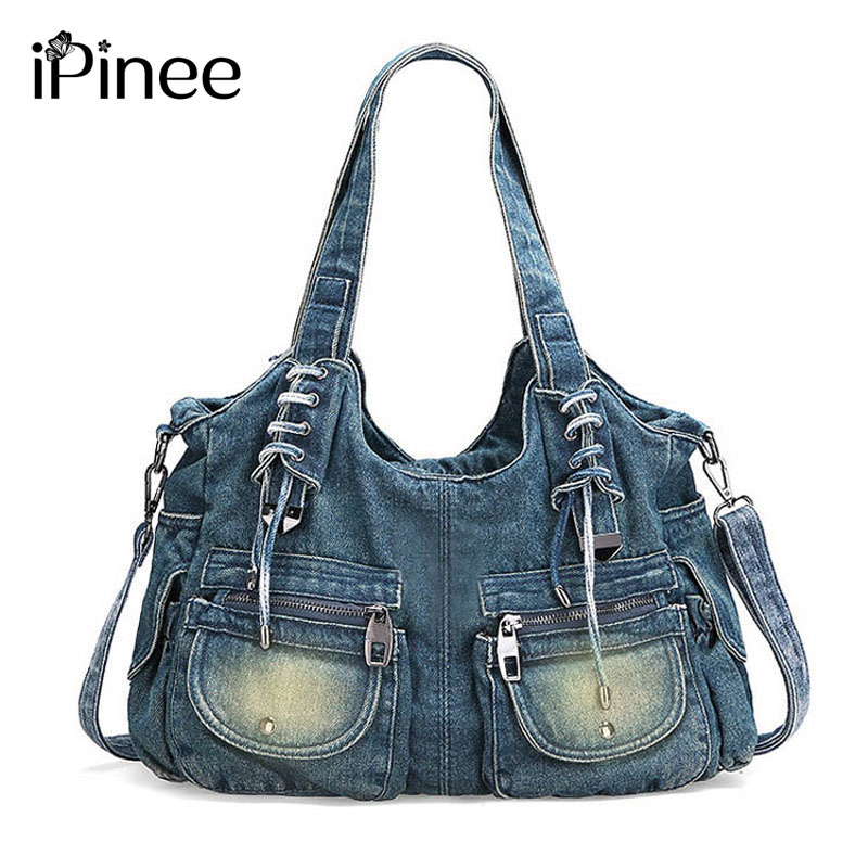 iPinee Fashion Women Bag Vintage Casual Denim Handbag Lady Large Capacity Jeans Tote Weave tape Creative