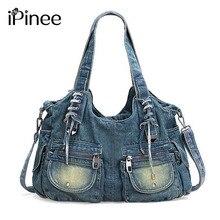 IPinee אופנה נשים שקית בציר מזדמן ג ינס תיק גברת קיבולת גדולה ג ינס Tote Weave קלטת יצירתי כתף שליח תיק