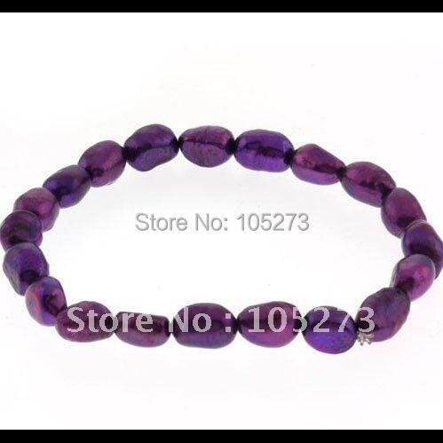 Удивительно! жемчужный браслет А. А. 7-8 мм Фиолетовый Цвет пресноводного жемчуга эластичный браслет за Shaper ювелирные изделия nf155a