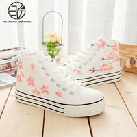 Gzpw 코스프레 한국어 스타일의 캔버스 신발 학생 스포츠 신발 캐주얼 패션 그림 낙서 신발 35-40
