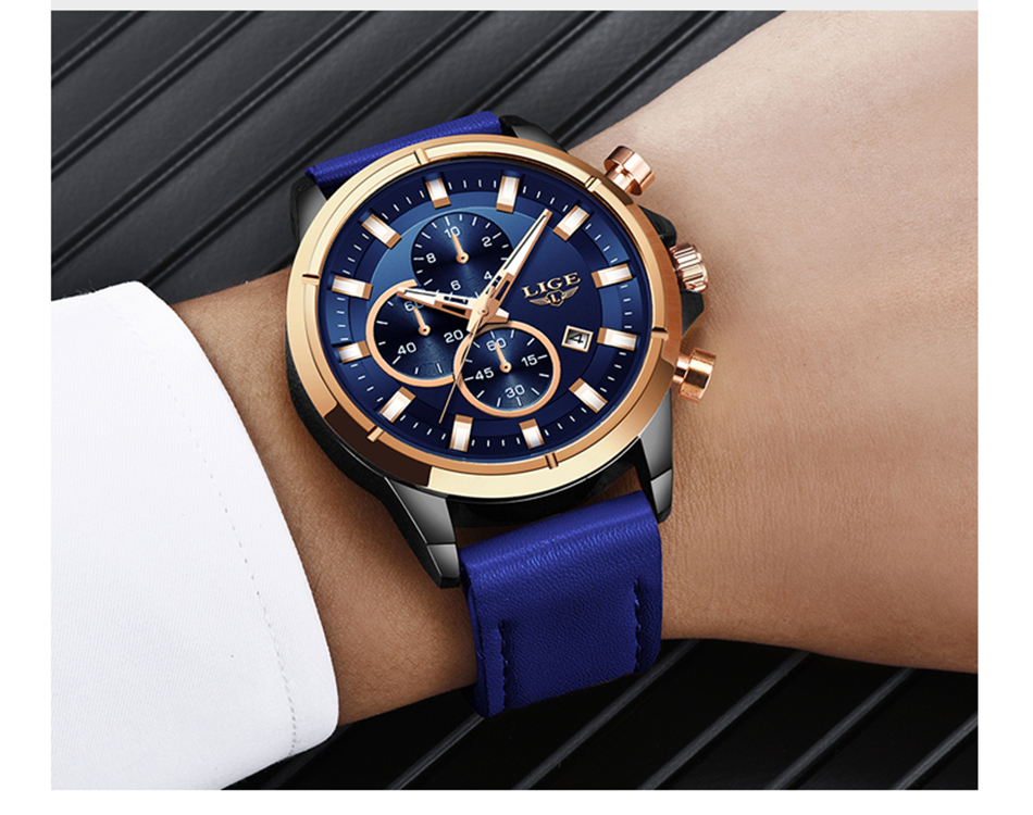 HTB1OOBUevWG3KVjSZPcq6zkbXXay LIGE Casual Sports Watches For Men Blue Top Brand Luxury Military Leather Wrist Watch Man Clock Fashion Chronograph Wristwatch