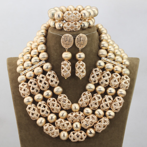 Luxury 4 Layers Gold Beaded Jewelry Accessories Fashion Dubai Arab Wedding Jewelry Set for Brides Hot Free Shipping WD792