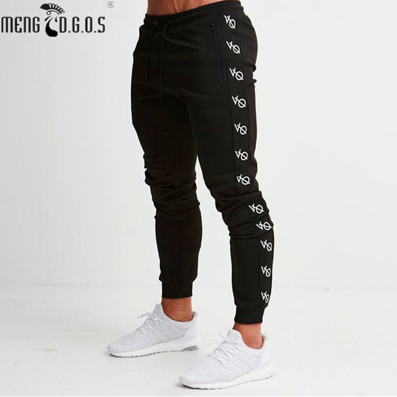 2018 Brand Men's Black Fitness Trousers Gyms Trousers Fitness Wear Workout Pants Men's Casual Pants Men's Pants