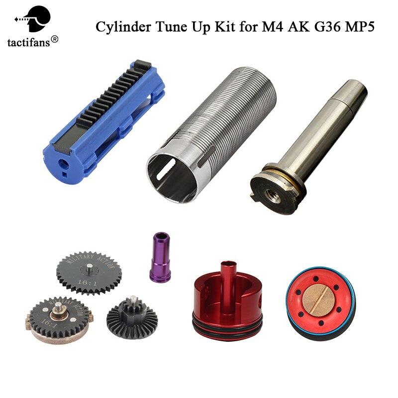 TACTIFANS Tune Up kit 16:1 Gear Set Cylindre Piston/tête Printemps Guide Buse 14 Dents Piston pour AK M4 MP5 G36 AEG Airsoft