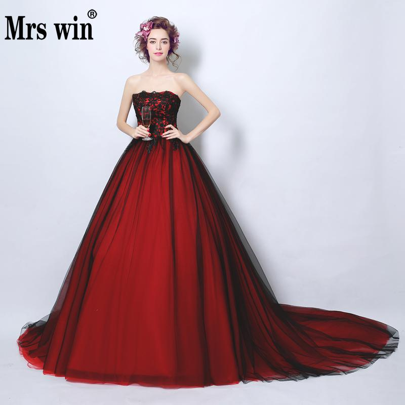 Evening Dress The Mrs Win Wien Red Sexy Strapless Court Train Classic Ball Gown Vintage Vestido De Festa F