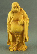цена Delicate Lovely Chinese Traditional Handicrafts Boxwood Maitreya Statue - Smile to Often Open