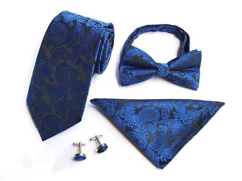 Men's Ties & Handkerchiefs Scst Brand Paisley Floral Print Silk Mens Ties For Men Tie Navy Blue Tie With Match Bow Tie Handkerchief Cufflinks 4pcs Set A083 Agreeable Sweetness