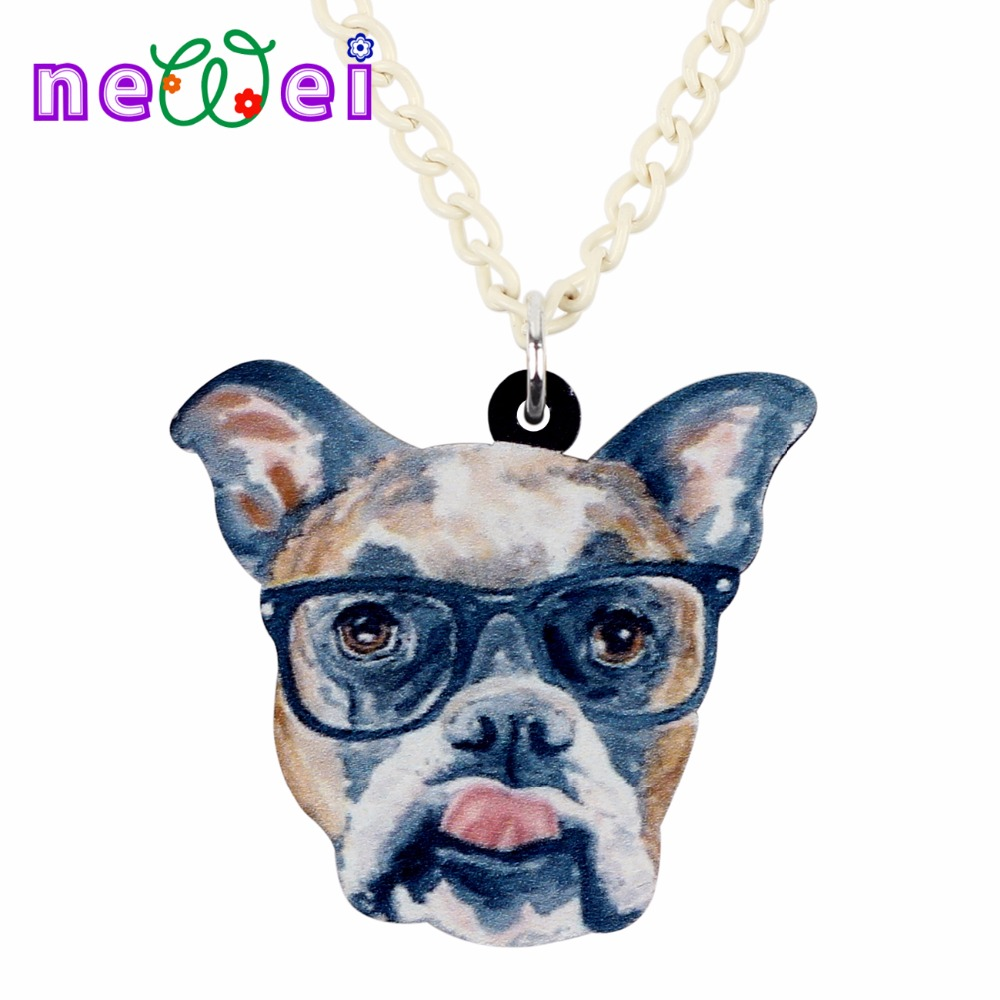 NEWEI Statement Acrylic Glasses Boxer Dog Necklace Pendant Collar Animal Jewelry For Women Girls Teens Kids Cartoon Gifts Bulk