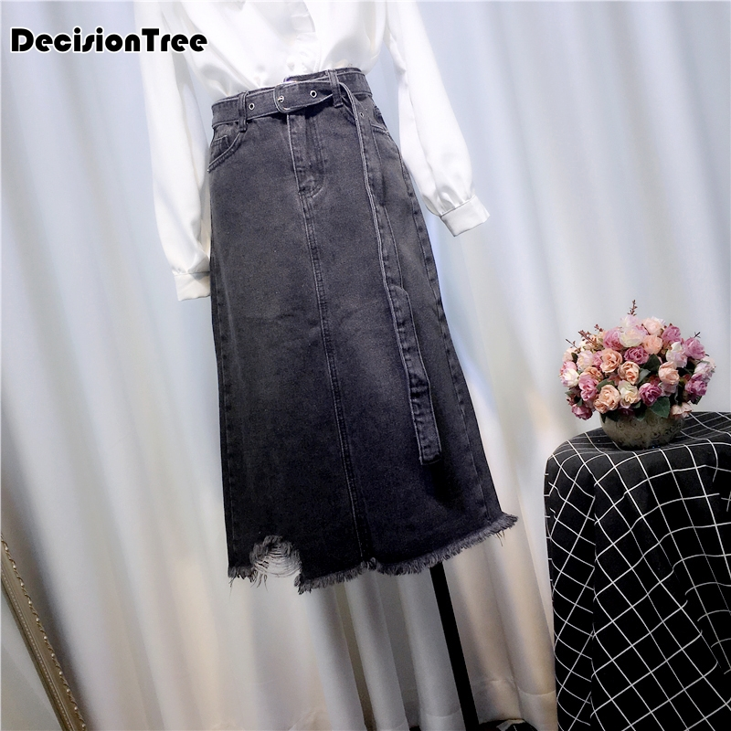 Womens 2019 Straight Pencil Jean Denim Long Skirts Stretch New Skirt Female Calf Mid Saia xWrWwnIqC4