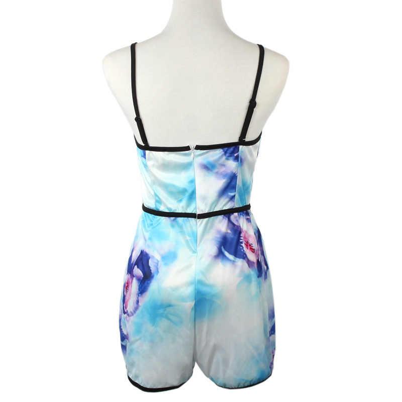 Бесплатная Страусиная Сексуальная женская с v-образным вырезом цветочный повседневный комбинезон штаны от комбинезона боди летняя пляжная одежда D0535