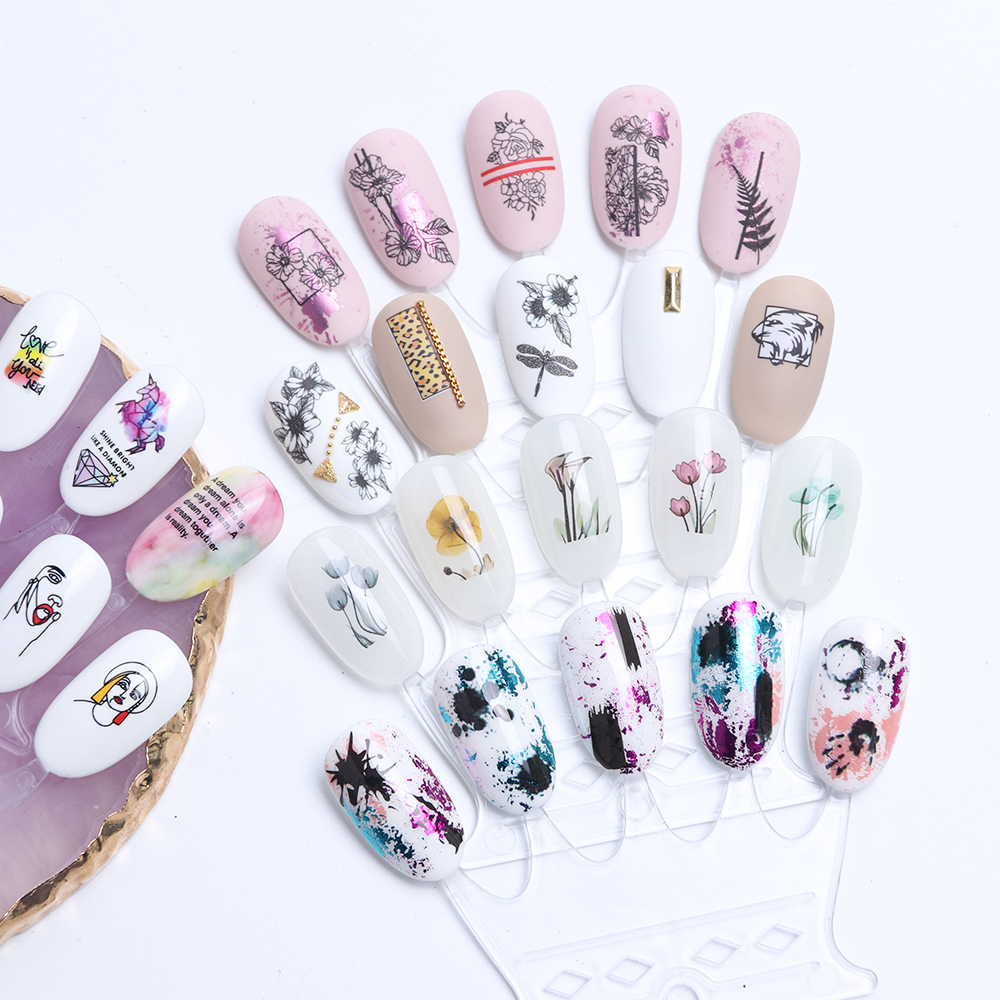 12 Designs Summer Nail Water Transfer Stickers Cactus Flamingo Heart Leaf Tattoo Decals Nail Art Decoration Slider 6