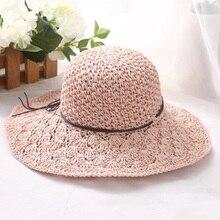 FLYBER verano 2018 Dom paja sombreros para las mujeres tejer diseño  plegable Brimmed Panamá Cap protección UV Ladies playa Panam. fbd1a0fb88ac