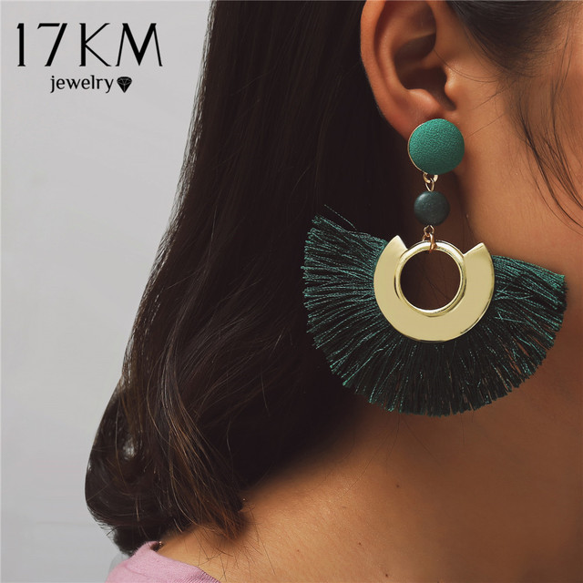 17KM 2018 Fashion Tassel Earrings For Women Bohemian Retro Sequin Party Blue Red