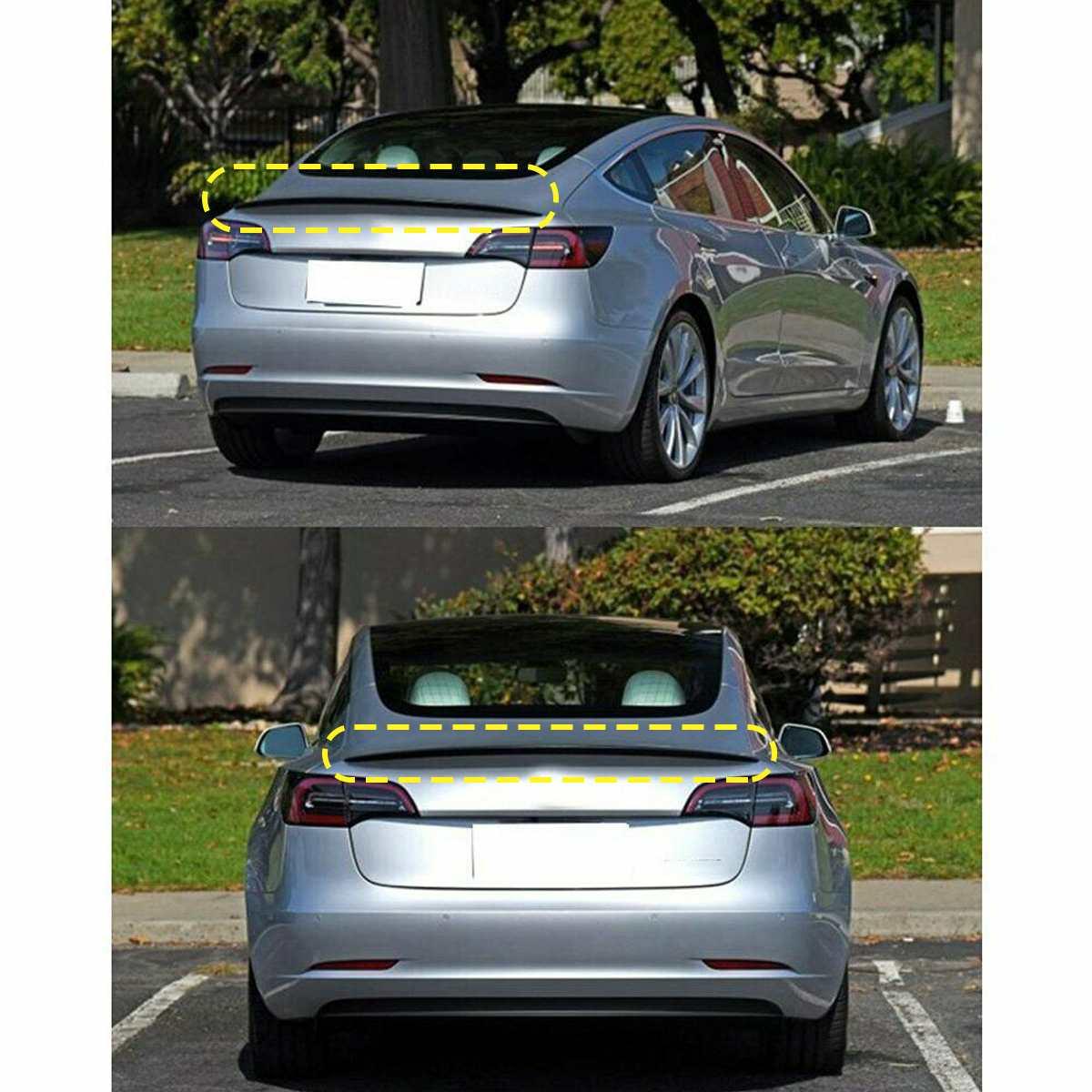 1 шт. глянцевый черный Задний спойлер, крыло, багажник Накладка для Tesla модель 3 2017 ~ 2019 - 4
