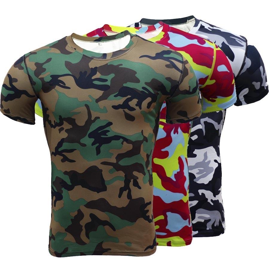 Camiseta con estampado para hombre 3d de compresión de camuflaje ... 7484ecbe6bfc1