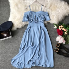 2019 New Women Chiffon Pleated Off-shoulders Sling Spaghetti Strap Long Dress Ladies Ruffles Empire Drapped Swing Slip Dress(China)