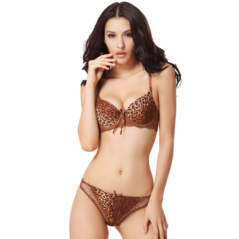 Leopard Bra Thong Set Sexy Underwear Balaloum French Brand Push Up Bandage Women Intimates Lolita Lingerie Set Silk and Lace