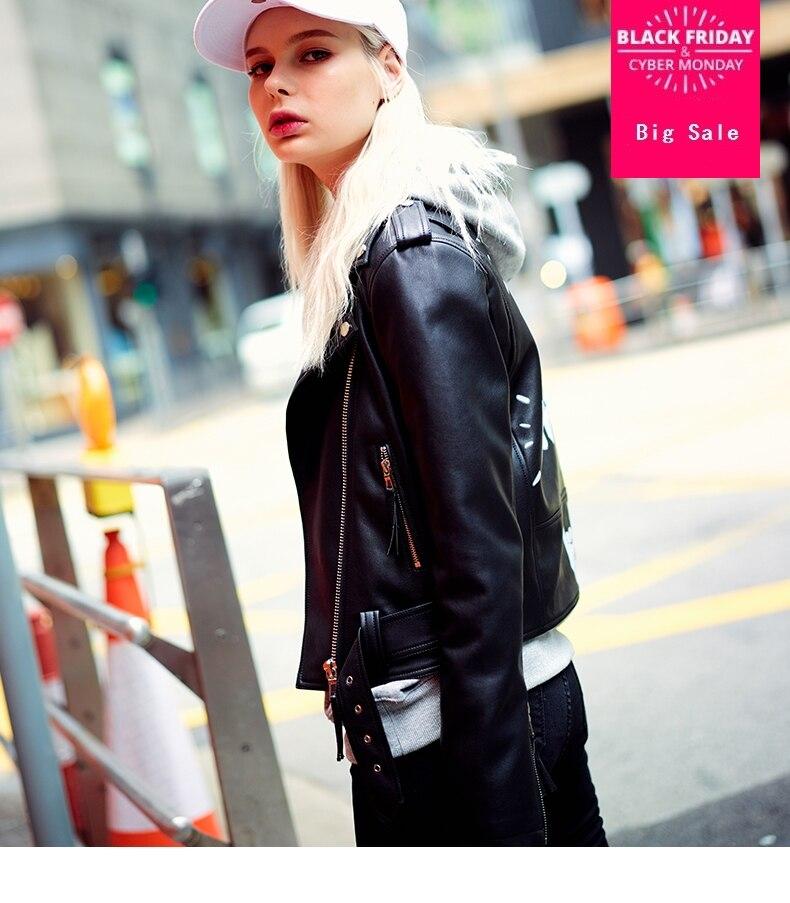 Fashion brand Autumn Women Cute letters Printing Street Short   Leather   Jacket Black Zipper Motorcycle Coat wj1211 free shipping