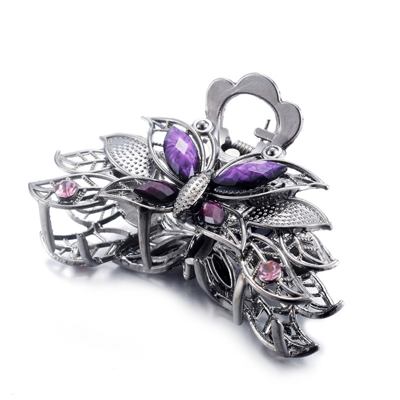 2019 Fashion Girls Crystal Butterfly Barrettes Charm Ladies Metal Rhinestone Crab Claw Hair Clip Wedding Jewelry Gifts in Hair Jewelry from Jewelry Accessories