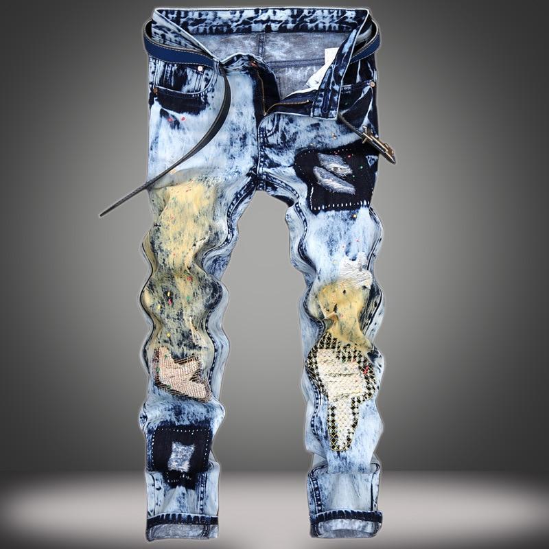 Men's fashion light blue patchwork print ripped denim jeans Slim Splash hole straight jeans Long trousers Hip Hop pants тюнер oriel 963