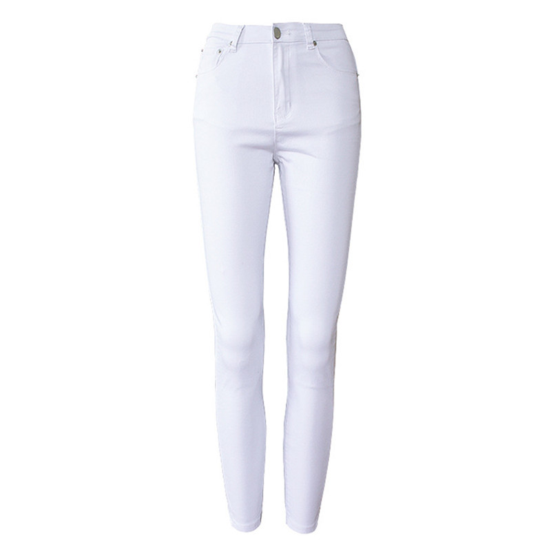 Women High Waist White Basic Casual Fashion Stretch Skinny Denim Jean Plus Size Feminino Pants Trousers Jeans For Women Bottoms pyramida basic casa 50k white