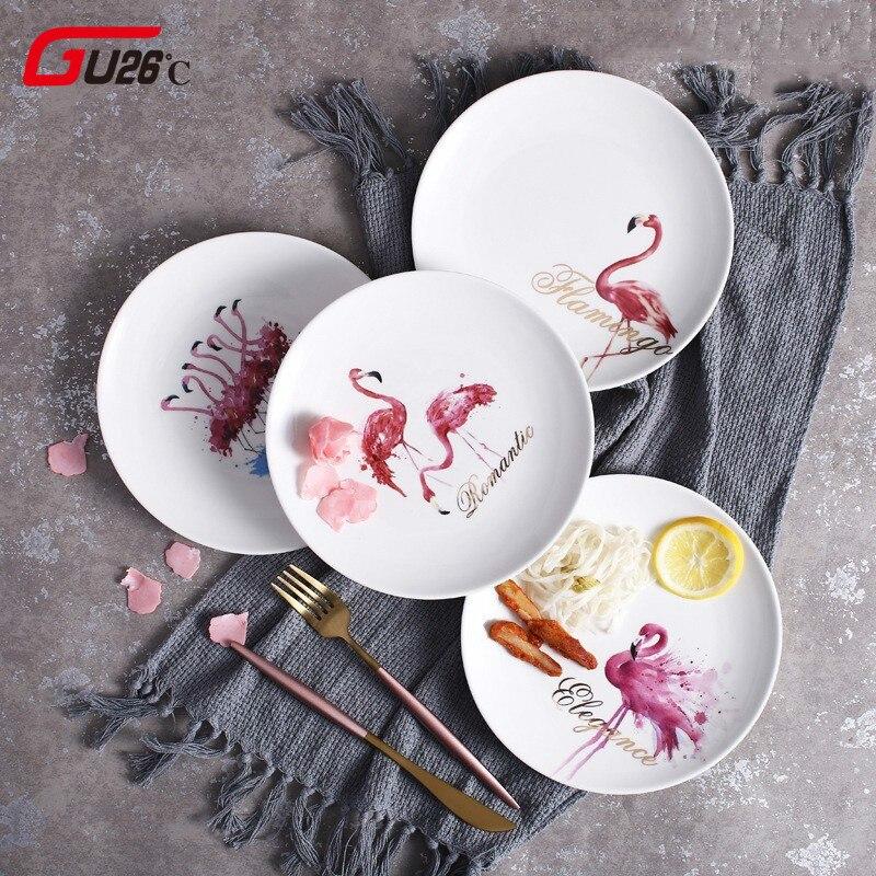 Elegant Pink Flamingo Ceramic Dinner Plates White Porcelain Tray Dishes For Restaurant Serving Dessert Food Plate For Party Gift