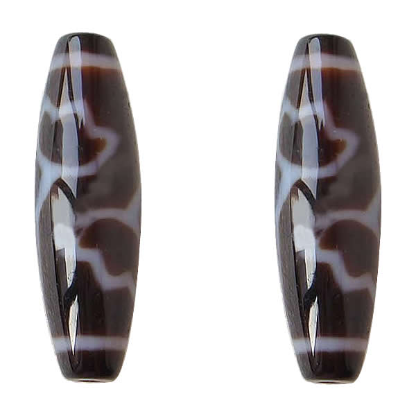 Amulet Lotus Pattern AAA Grade Agate Natural Tibetan Dzi Beads Oval 13x38mm Hole:Approx 2mm Free Shipping