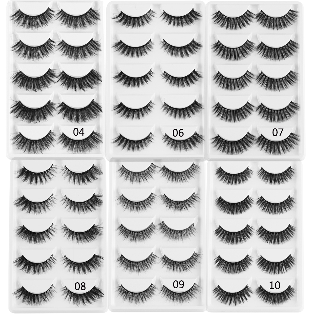 5Pairs 3D Mink Hair False Eyelashes Criss-cross Wispies Fluffy Eyelashes Extension Natural Long Eye Makeup Eylash Extension Tool
