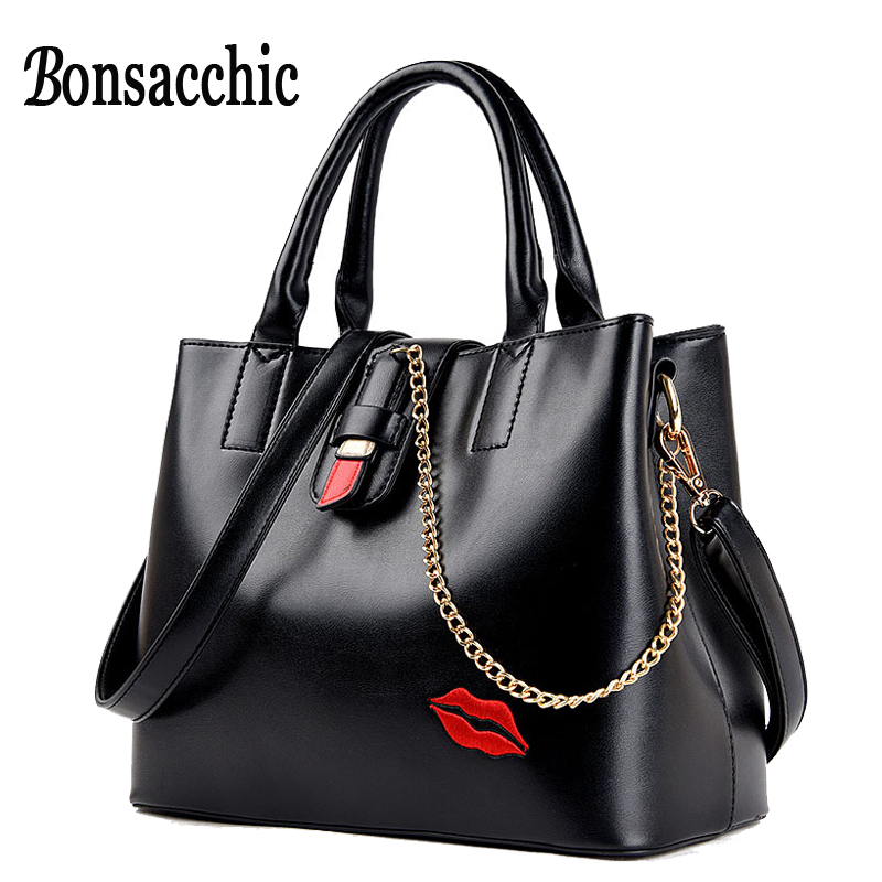 Luxury Handbags Women Bags Designer Women's Handbags Black Tote Bag for Women 2017 Famous Brand Leather Bag Embroidery Chain Bag embroidery detail tote bag