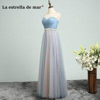 vestido de madrinha de casamento longo2018 New Tulle Crystal Belt Halter a Line Blue Pink bridesmaid dresses plus size wedding