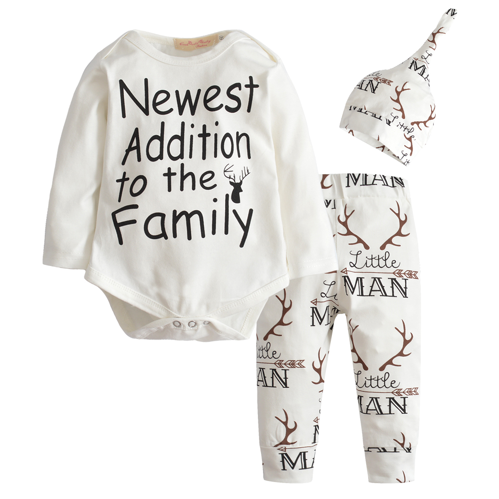 2018 Autumn New baby clothing set Baby Boy Girls Long Sleeve Tops Romper +Long Pants + Hat 3pcs newborn baby boy clothes set