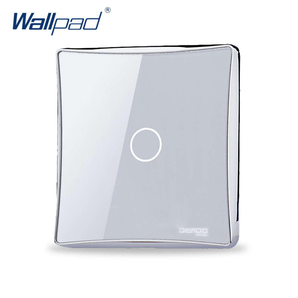 2pcs/lot 1 Gang 2 Way Wallpad Luxury Black/White Crystal Glass Switch Panel Touch Screen Wall Light Switch Backlight LED smart home us au wall touch switch white crystal glass panel 1 gang 1 way power light wall touch switch used for led waterproof