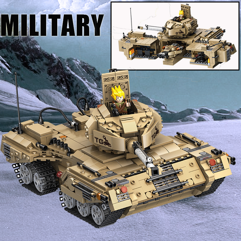 NEW 1435Pcs Military Series Base Transformation War Tank Weapon Building Block Brick Legoings DIY Toy for Children Birthday Gift
