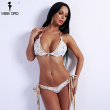 MISS ORD Missord 2019 Sexy Summer Women Bikini Lace Decoration Swimsuit Rhinestone