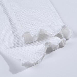 Image 5 - WannaThis נשים מכנסי עיפרון 2019 סתיו ראפלס אלגנטי לבן Slim מזדמן נקבה למתוח מכנסיים לבן חותלות מצולעים סרוג