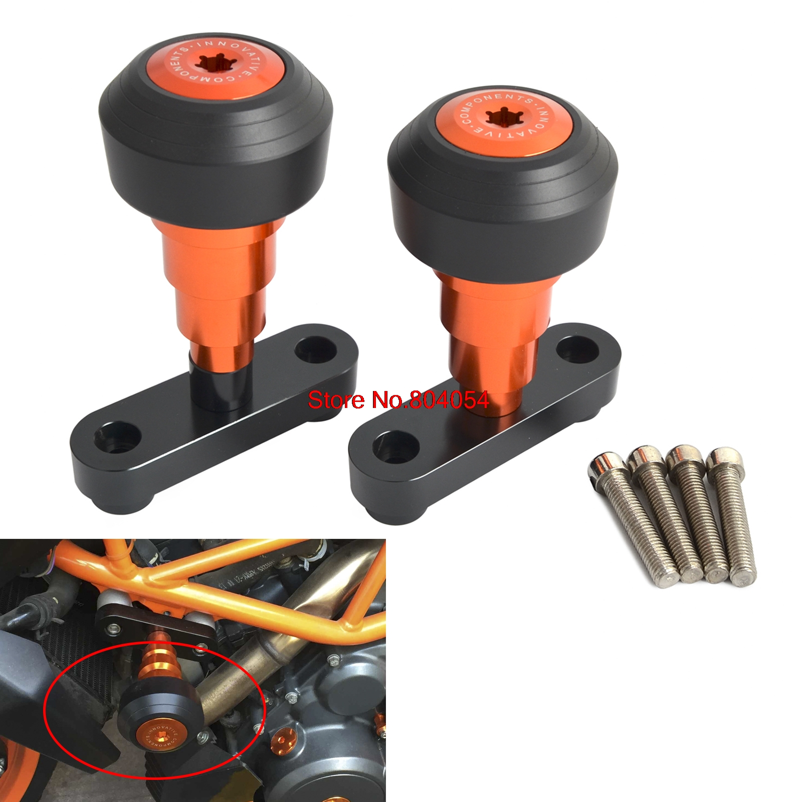 Motorcycle Parts Frame Sliders Sturzpad Crashpads For KTM Duke 125 200 390 2011 - 2016 2012 2013 2014 2015 New for ktm 200 duke 2013 2014 390 duke 2014 2015 2016 motorcycle accessories steering damper stabilizer with mounting bracket kit
