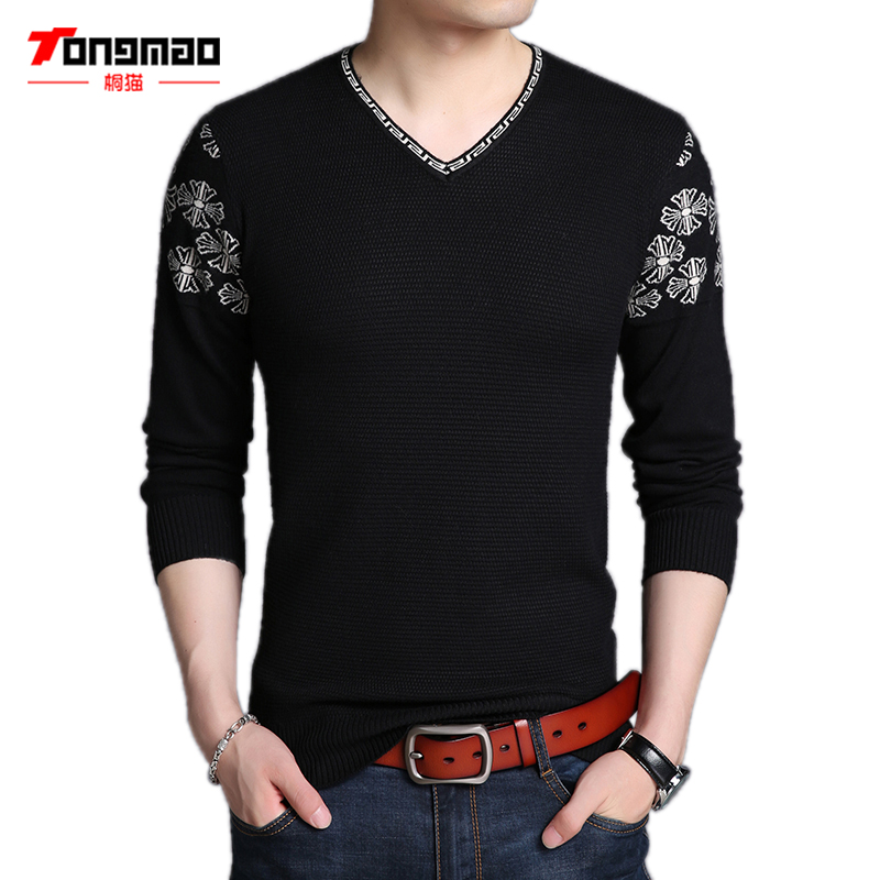 Autumn Winter Men Sweater Fashion Printed Solid Color V-Neck Warm Men Pullover Long Sleeve Slim Fit Knitted Men Sweater Pullover